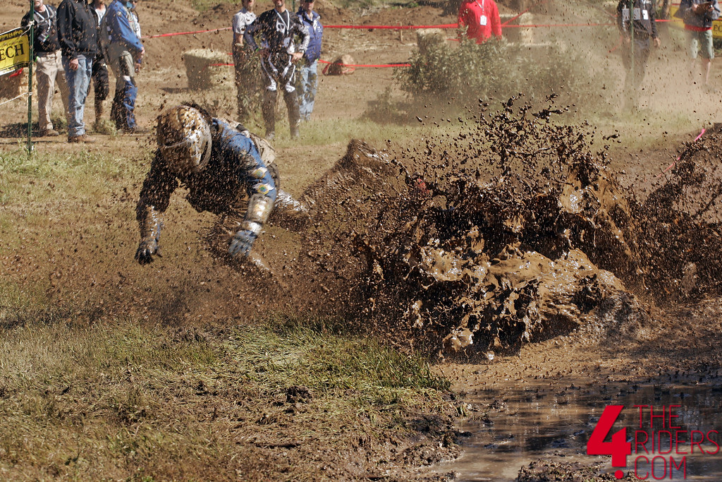 bmw rider crash mud pit